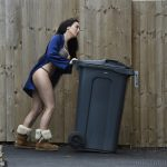 view post EXCLUSIVE Laura Alicia Summers caught out in her underwear putting the bins out.'